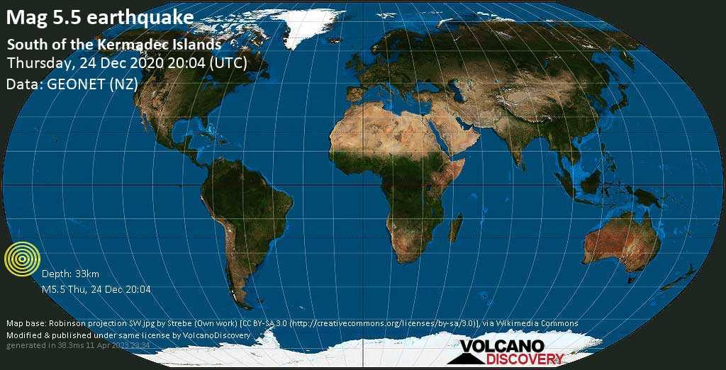 Starkes Magnitude 5.5 Erdbeben - South Pacific Ocean, 345 km südlich von Sunday , Neuseeland, am Donnerstag, 24. Dez 2020 um 08:04 Lokalzeit