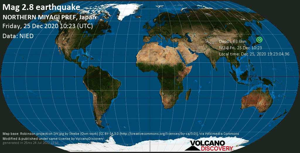 Minor mag. 2.8 earthquake - North Pacific Ocean, 21 km south of Ōfunato, Iwate, Japan, on Friday, 25 Dec 2020 7:23 pm (GMT +9)