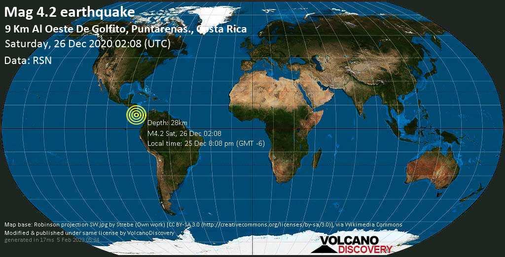 Light mag. 4.2 earthquake - North Pacific Ocean, 13 km west of Golfito, Provincia de Puntarenas, Costa Rica, on Friday, Dec 25, 2020 8:08 pm (GMT -6)