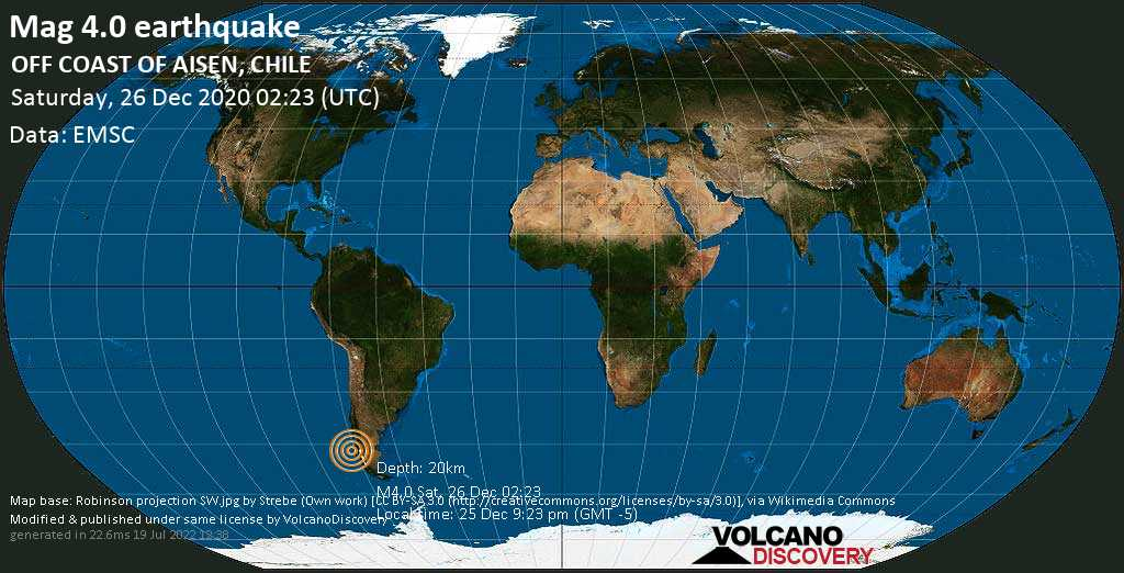 Light mag. 4.0 earthquake - South Pacific Ocean, 288 km southwest of Puerto Aisén, Provincia de Aisén, Aysén, Chile, on Friday, 25 Dec 2020 9:23 pm (GMT -5)