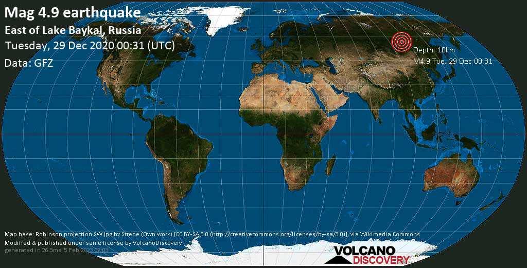 Moderate mag. 4.9 earthquake - 46 km southwest of Taksimo, Maysky District, Buryatiya Republic, Russia, on Tuesday, 29 Dec 2020 8:31 am (GMT +8)