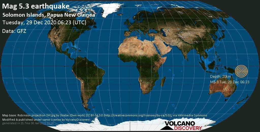 Starkes Magnitude 5.3 Erdbeben - Solomon Sea, 49 km südwestlich von Torokina Islet , Papua-Neuguinea, am Dienstag, 29. Dez 2020 um 17:23 Lokalzeit