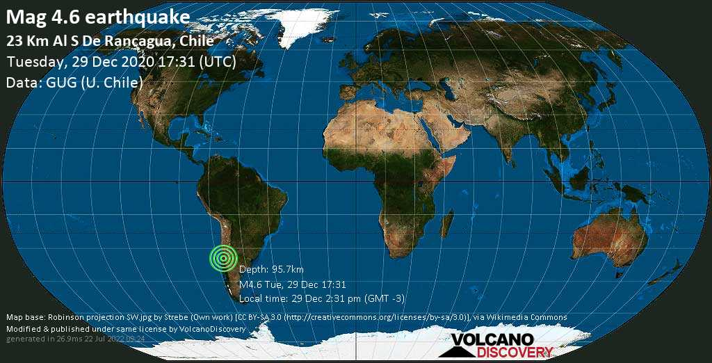 Light mag. 4.6 earthquake - Cachapoal, 8.2 km northeast of Rengo, Provincia de Cachapoal, O\'Higgins Region, Chile, on Tuesday, 29 Dec 2020 2:31 pm (GMT -3)