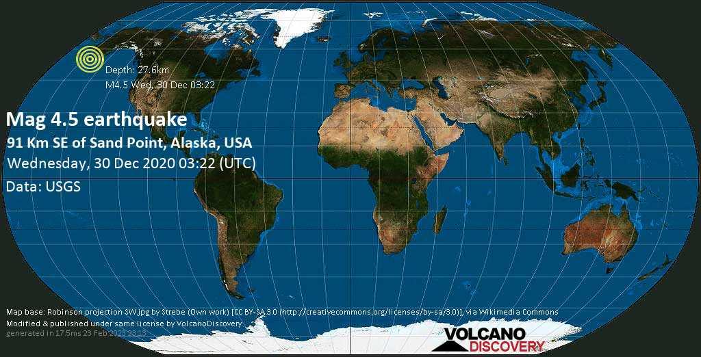 Moderates Erdbeben der Stärke 4.5 - Gulf of Alaska, 16 km südwestlich von Chernabura , Aleutians East County, Alaska, USA, am Dienstag, 29. Dez 2020 um 18:22 Lokalzeit