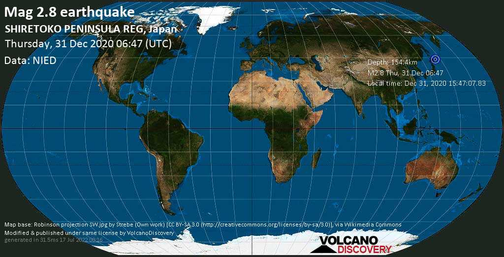 Sismo minore mag. 2.8 - 10.5 km a nord ovest da Shibetsu, Hokkaido, Giappone, giovedí, 31 dicembre 2020