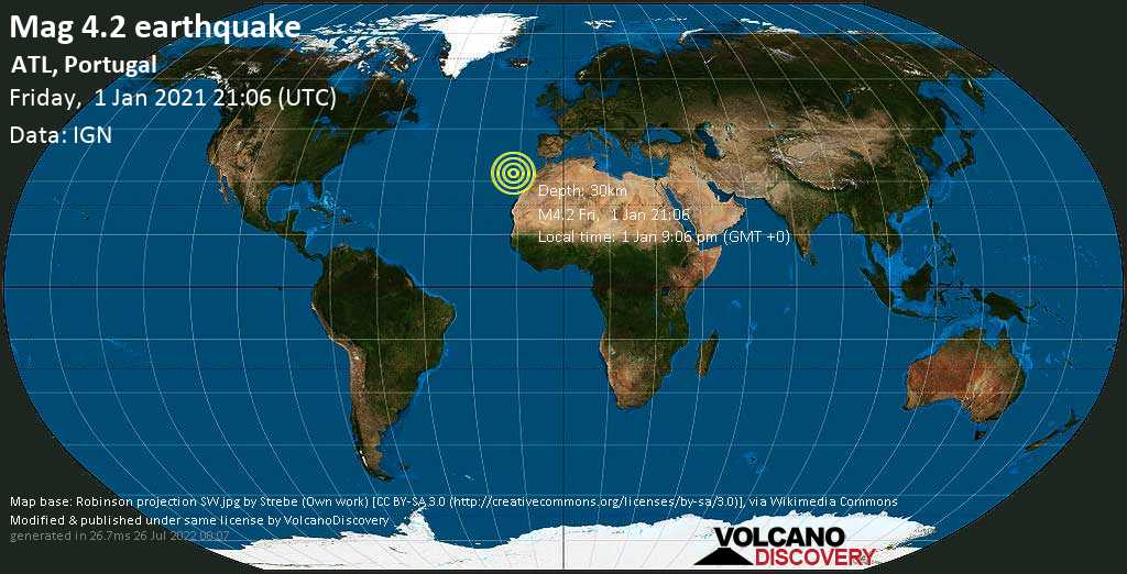Light mag. 4.2 earthquake - North Atlantic Ocean, 55 km south of Funchal, Madeira, Portugal, on Friday, 1 Jan 2021 9:06 pm (GMT +0)
