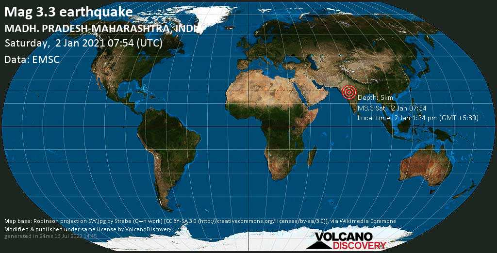 Sismo leggero mag. 3.3 - 14 km a nord da Pānsemāl, Barwani, Madhya Pradesh, India, sabato, 02 gennaio 2021