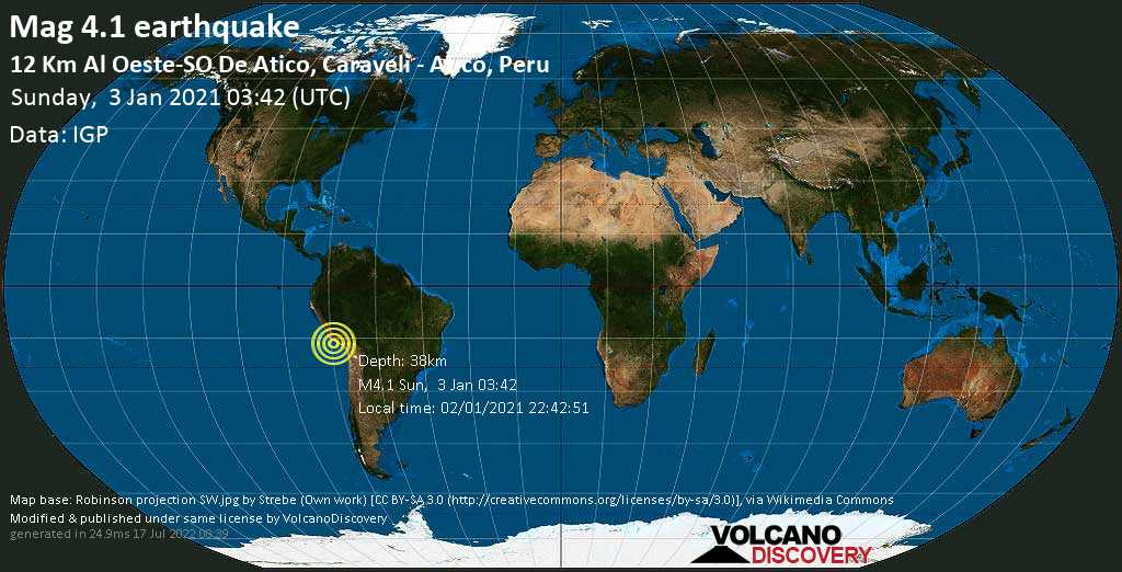 Light mag. 4.1 earthquake - South Pacific Ocean, 12 km southwest of Atico, Peru, on Saturday, 2 Jan 2021 10:42 pm (GMT -5)