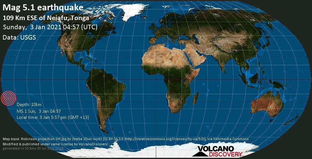 Strong mag. 5.1 earthquake - South Pacific Ocean, 110 km east of Neiafu, Vava'u, Tonga, on Sunday, 3 Jan 2021 5:57 pm (GMT +13)