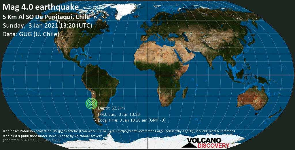 Light mag. 4.0 earthquake - 31 km south of Ovalle, Provincia de Limari, Coquimbo Region, Chile, on Sunday, 3 Jan 2021 10:20 am (GMT -3)