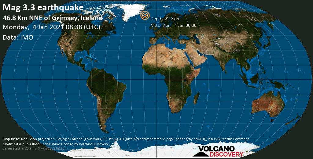 Weak mag. 3.3 earthquake - 46.8 Km NNE of Grímsey, Iceland, on Monday, 4 Jan 2021 8:38 am (GMT +0)