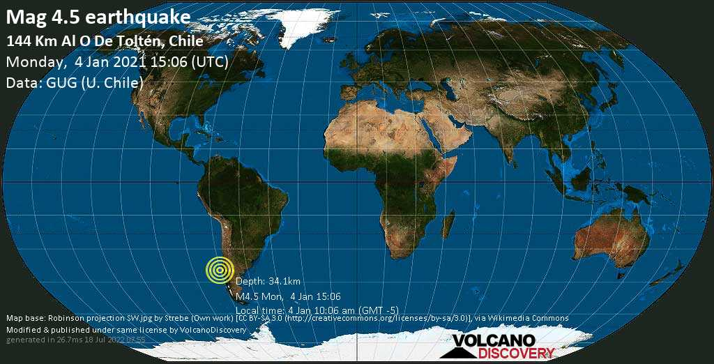 Moderate mag. 4.5 earthquake - South Pacific Ocean, 147 km west of Valdivia, Los Rios Region, Chile, on Monday, 4 Jan 2021 10:06 am (GMT -5)
