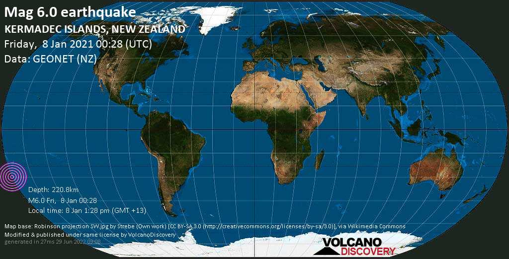 Strong mag. 6.0 earthquake  - South Pacific Ocean, 74 km southwest of Sunday Island, New Zealand, on Friday, 8 Jan 2021 1:28 pm (GMT +13)