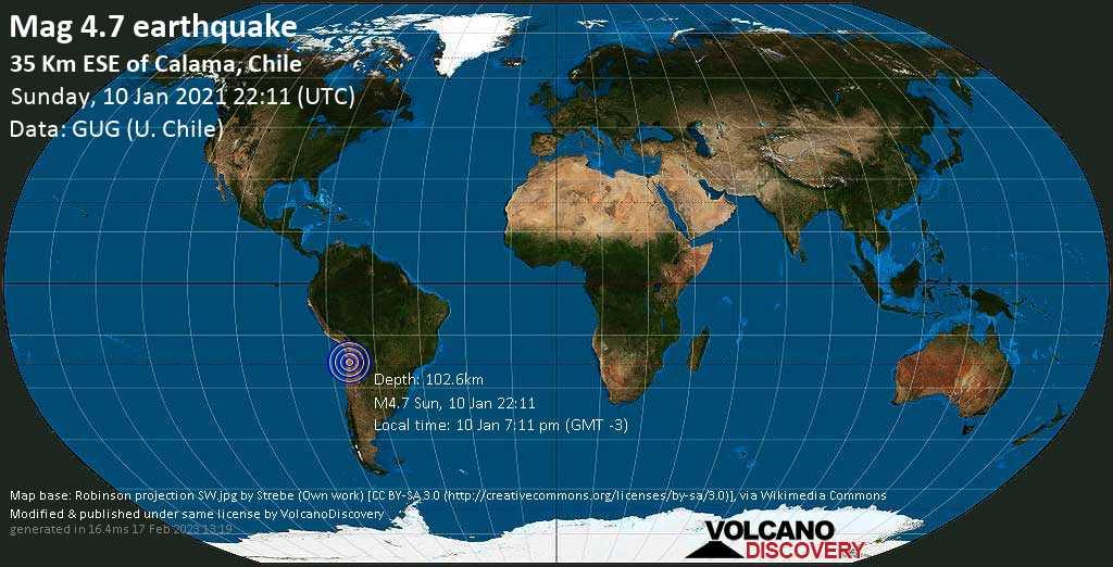 Light mag. 4.7 earthquake - 34 km east of Calama, Provincia de El Loa, Antofagasta, Chile, on Sunday, 10 Jan 2021 7:11 pm (GMT -3)