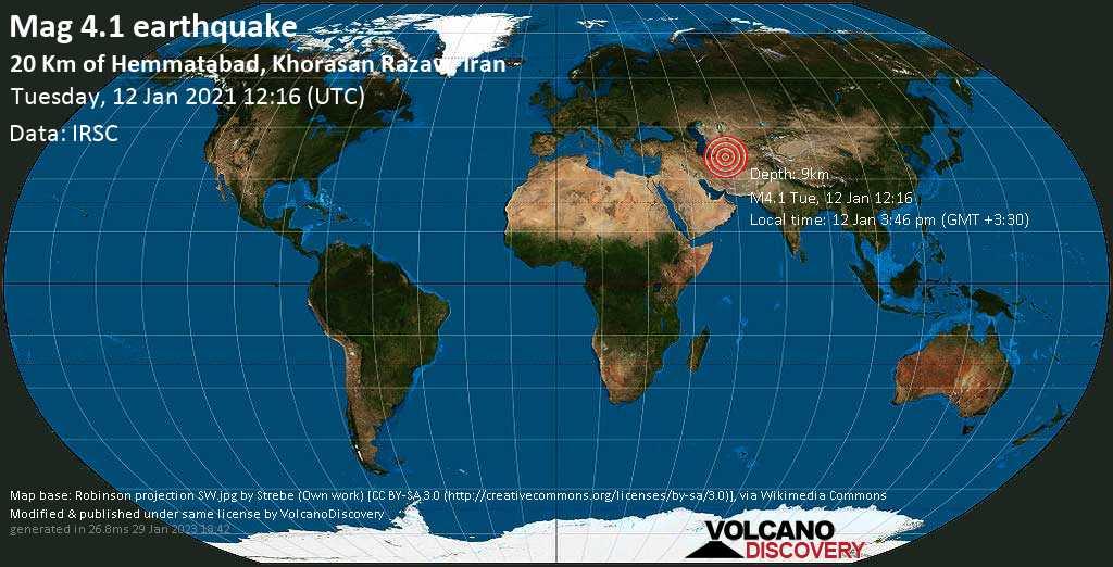 Moderate mag. 4.1 earthquake - 49 km west of Neyshabur, Razavi Khorasan, Iran, on Tuesday, Jan 12, 2021 3:46 pm (GMT +3:30)