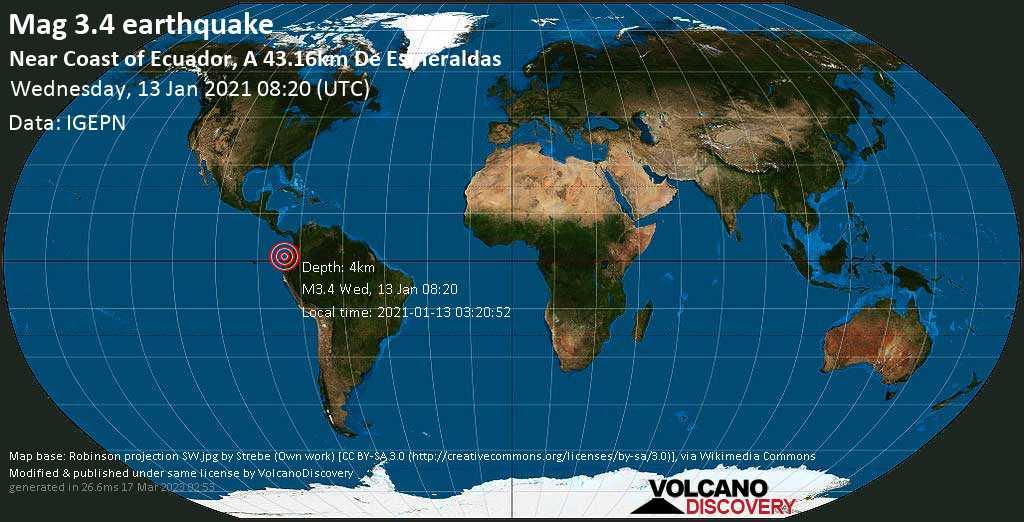 Leichtes Erdbeben der Stärke 3.4 - Nordpazifik, 44 km nordwestlich von Esmeraldas, Provincia de Esmeraldas, Ecuador, am Mittwoch, 13. Jan 2021 um 03:20 Lokalzeit