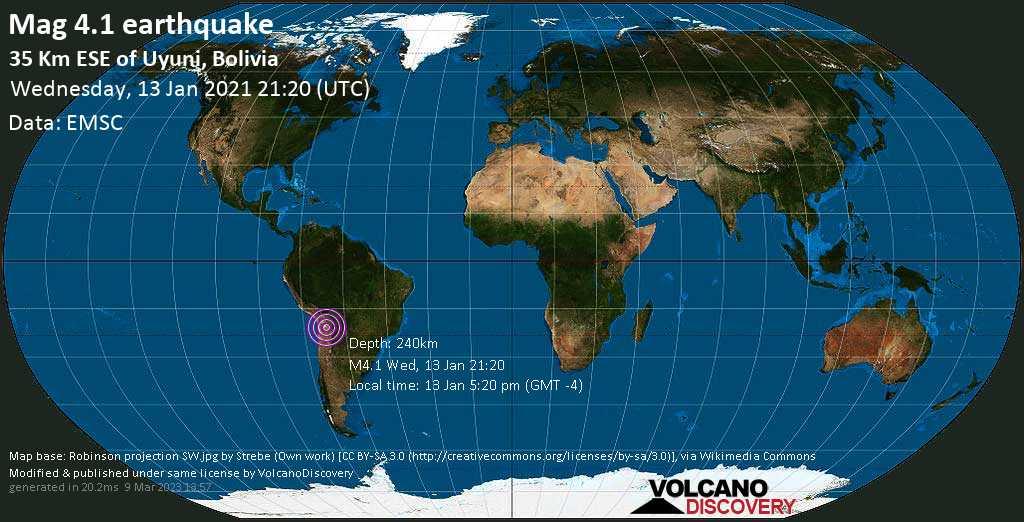 Mag. 4.1 earthquake  - 36 km southeast of Uyuni, Antonio Quijarro, Departamento de Potosi, Bolivia, on Wednesday, 13 Jan 2021 5:20 pm (GMT -4)