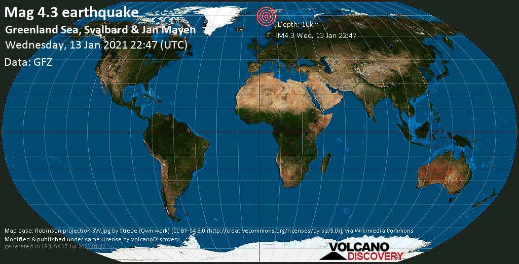 Moderate mag. 4.3 earthquake - Norwegian Sea, 561 km southwest of Longyearbyen, Spitsbergen, Svalbard, on Wednesday, 13 Jan 2021 11:47 pm (GMT +1)