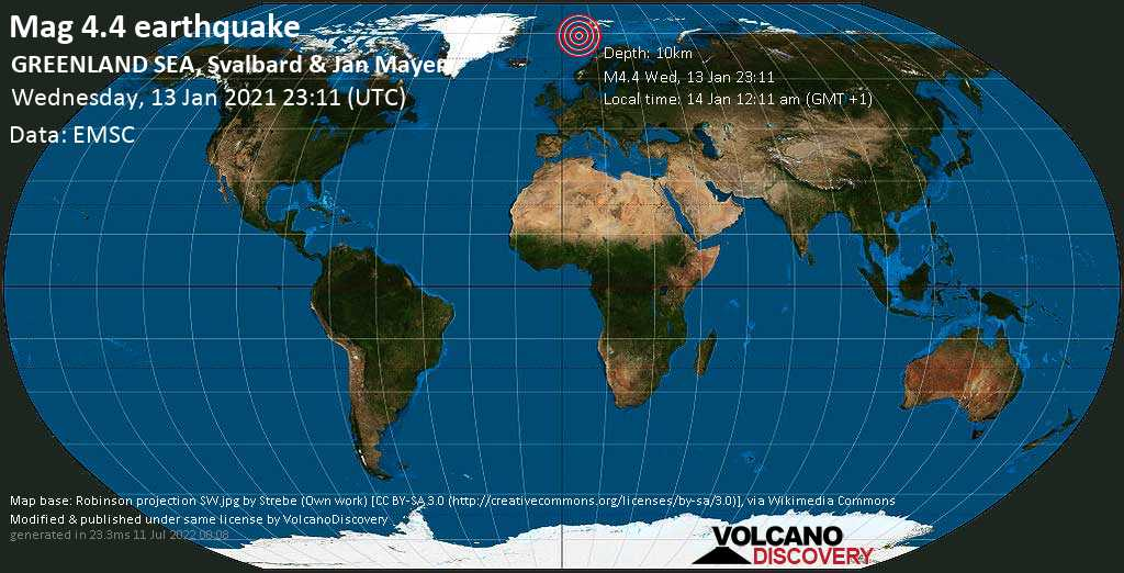 Terremoto moderato mag. 4.4 - Norwegian Sea, Svalbard e Jan Mayen, 584 km a nord ovest da Tromsø, Norvegia, mercoledì, 13 gennaio 2021