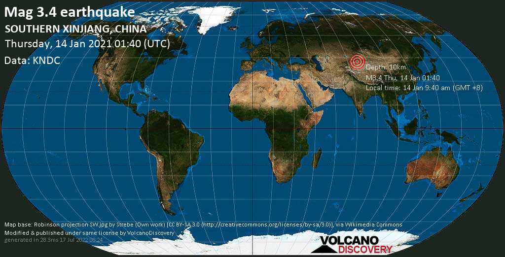 Light mag. 3.4 earthquake - 95 km west of Kucha, Xinjiang, China, on Thursday, 14 Jan 2021 9:40 am (GMT +8)