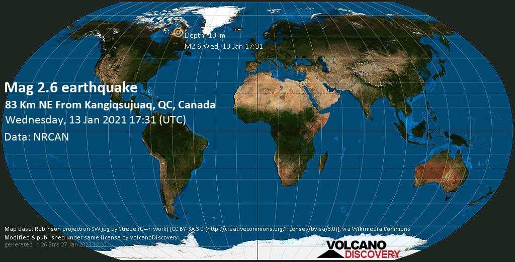 Weak mag. 2.6 earthquake - Hudson Strait, 1868 km north of Ottawa, Canada West, on Wednesday, 13 January 2021 at 17:31 (GMT)