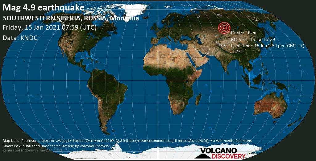 Moderate mag. 4.9 earthquake - 81 km southeast of Meždurečensk, Kemerovo Oblast, Russia, on Friday, 15 Jan 2021 2:59 pm (GMT +7)