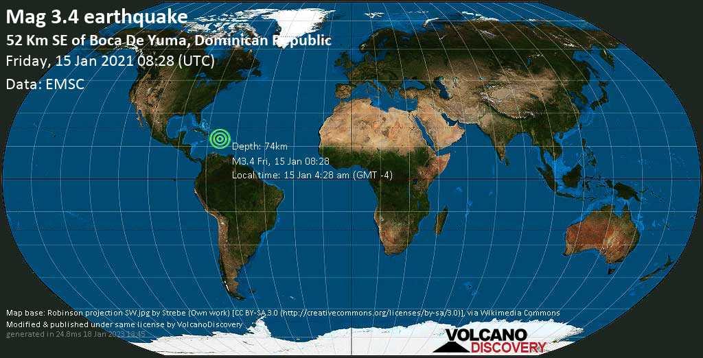 Schwaches Erdbeben Stärke 3.4 - Caribbean Sea, Dominikanische Republik, 35 km westlich von Isla de Mona , Puerto Rico, am Freitag, 15. Jan 2021 um 04:28 Lokalzeit