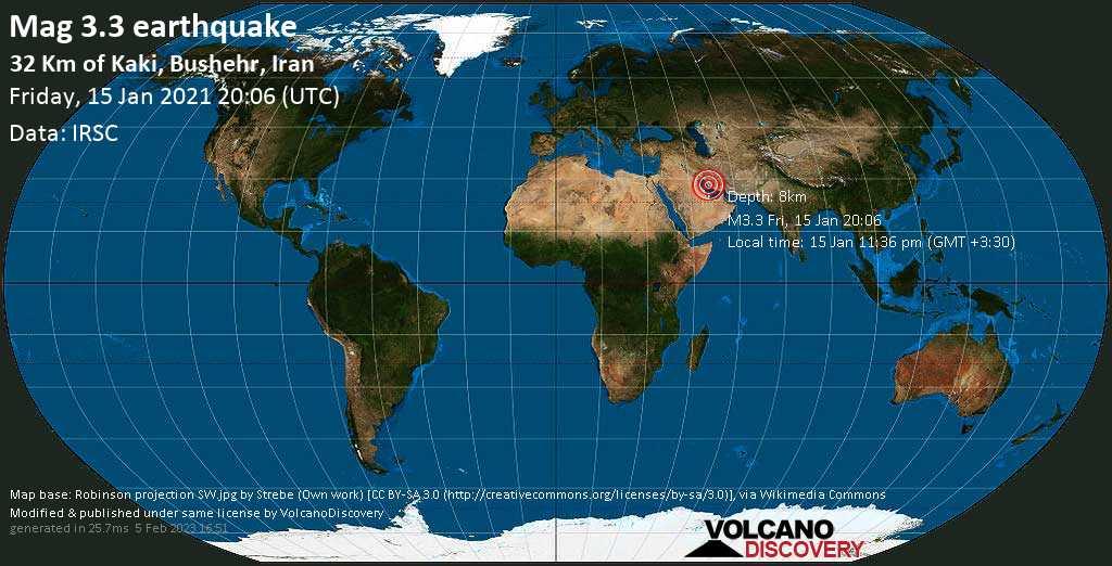 Light mag. 3.3 earthquake - Persian Gulf, 58 km northwest of Jazīreh-ye Garam Island, Bushehr, Iran, on Friday, 15 Jan 2021 11:36 pm (GMT +3:30)