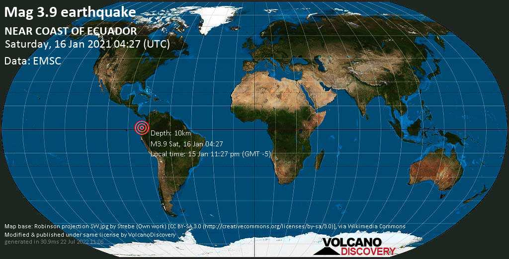 Moderate mag. 3.9 earthquake - North Pacific Ocean, 29 km northwest of Esmeraldas, Ecuador, on Friday, 15 Jan 2021 11:27 pm (GMT -5)