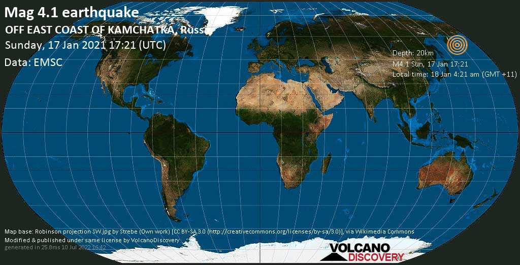 Light mag. 4.1 earthquake - North Pacific Ocean, 248 km northeast of Petropavlovsk-Kamchatskiy, Kamchatka, Russia, on Monday, 18 Jan 2021 4:21 am (GMT +11)