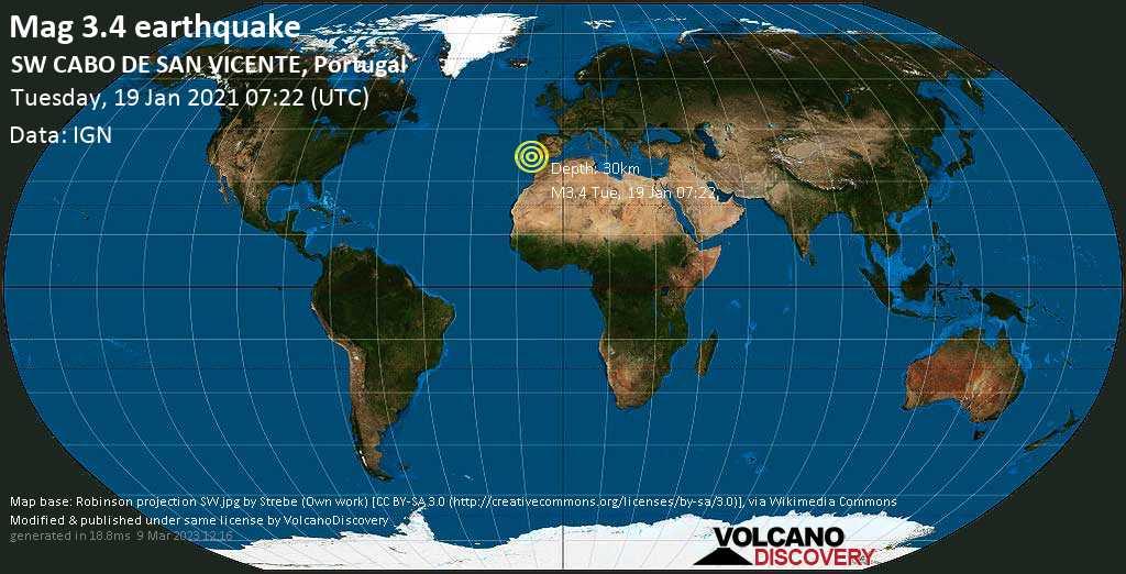 Weak mag. 3.4 earthquake - North Atlantic Ocean, 198 km west of Portimão, Faro, Portugal, on Tuesday, 19 Jan 2021 6:22 am (GMT -1)