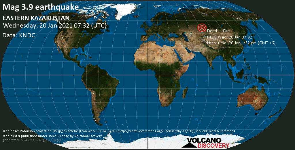 Moderate mag. 3.9 earthquake - 106 km southeast of Aqsū, Pavlodar Region, Kazakhstan, on Wednesday, 20 Jan 2021 1:32 pm (GMT +6)