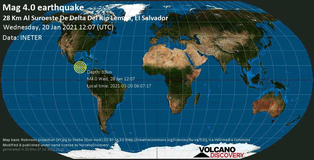 Light mag. 4.0 earthquake - North Pacific Ocean, 54 km south of Zacatecoluca, El Salvador, on Wednesday, 20 Jan 2021 6:07 am (GMT -6)