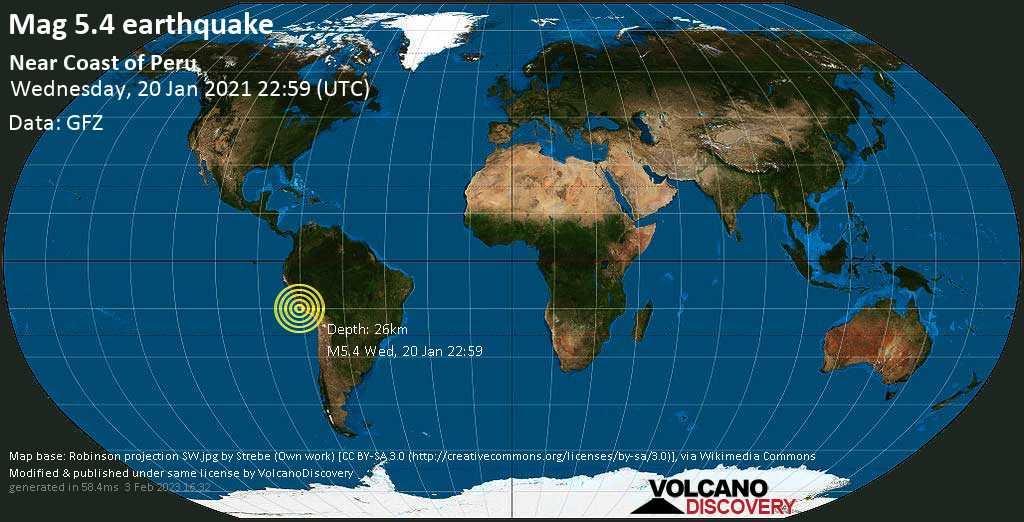 Starkes Magnitude 5.4 Erdbeben - 48 km westlich von Nazca, Ica, Peru, am Mittwoch, 20. Jan 2021 um 17:59 Lokalzeit