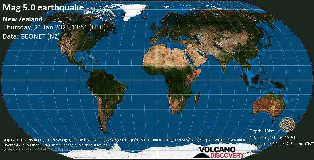 Strong mag. 5.0 earthquake - Tasman Sea, 18 km north of Bauza Island, New Zealand, on Friday, 22 Jan 2021 2:51 am (GMT +13)
