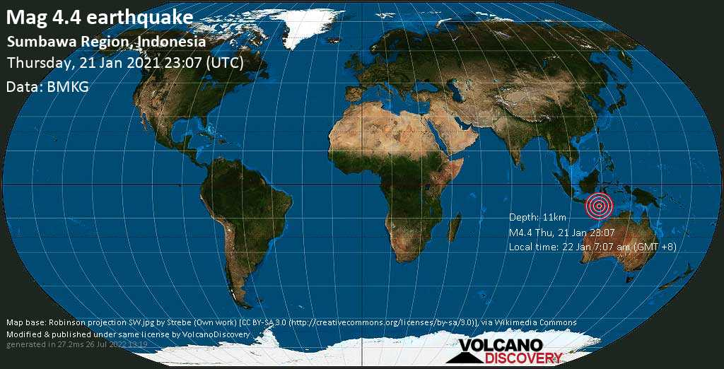 Moderate mag. 4.4 earthquake - Indian Ocean, 98 km south of Dompu, West Nusa Tenggara, Indonesia, on Friday, 22 Jan 2021 7:07 am (GMT +8)