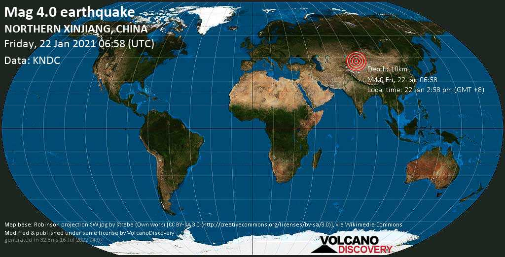 Moderate mag. 4.0 earthquake - Xinjiang, 226 km southeast of Zharkent, Kazakhstan, on Friday, 22 Jan 2021 2:58 pm (GMT +8)