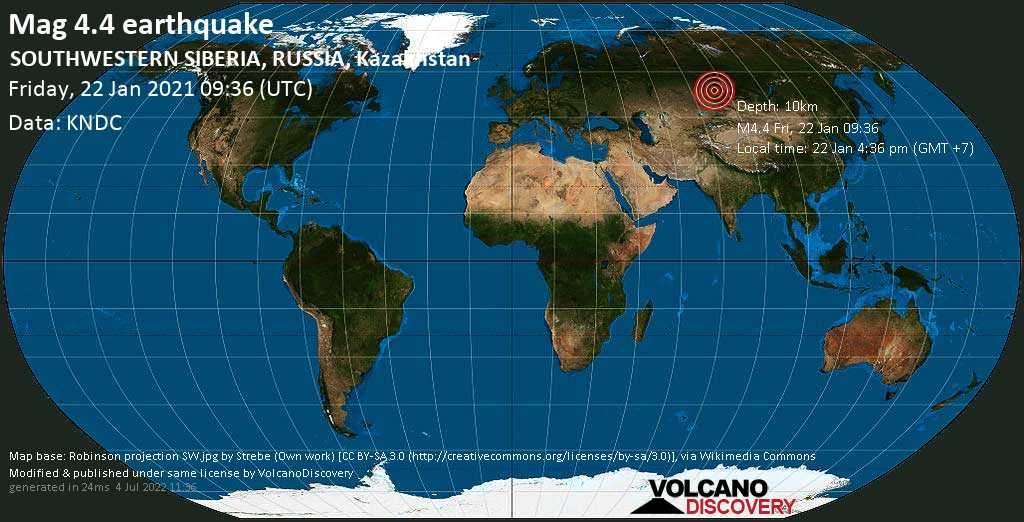 Moderate mag. 4.4 earthquake - 23 km southeast of Novoaltaysk, Altay Kray, Russia, on Friday, 22 Jan 2021 4:36 pm (GMT +7)