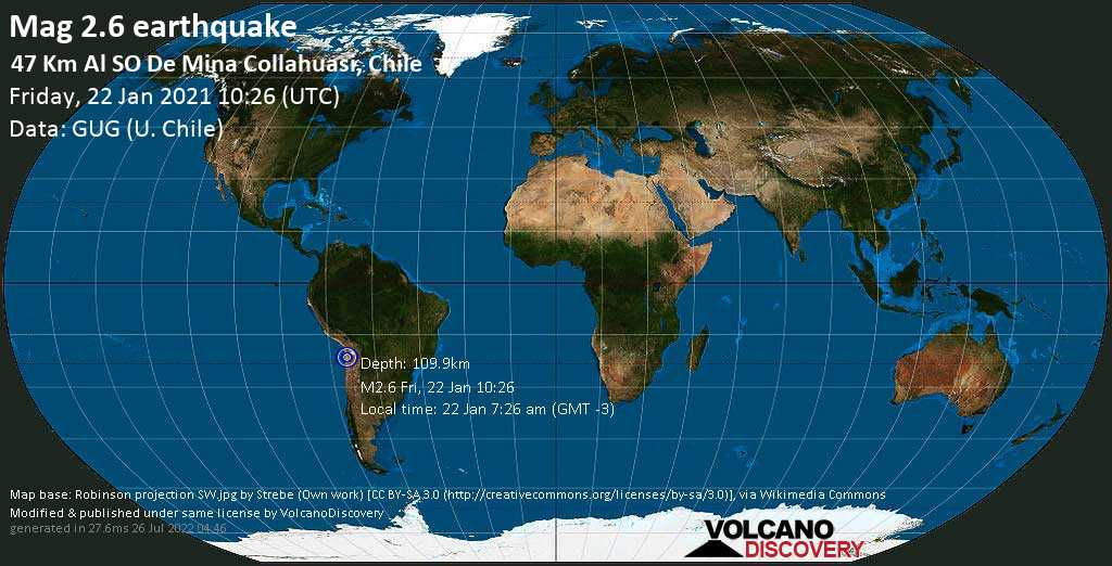 Minor mag. 2.6 earthquake - Tamarugal, Tarapaca, 142 km north of Calama, Provincia de El Loa, Antofagasta, Chile, on Friday, 22 Jan 2021 7:26 am (GMT -3)