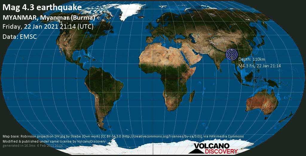 Light mag. 4.3 earthquake - 96 km northeast of Mawlaik, Sagaing Region, Myanmar (Burma), on Saturday, 23 Jan 2021 3:44 am (GMT +6:30)