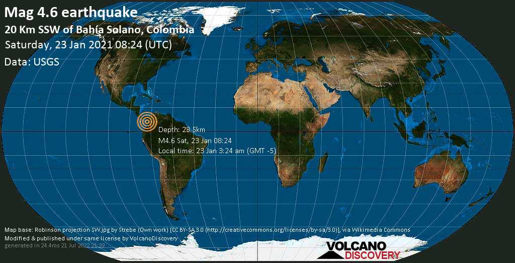 Moderate mag. 4.6 earthquake - North Pacific Ocean, 21 km south of Bahia Solano, Colombia, on Saturday, 23 Jan 2021 3:24 am (GMT -5)