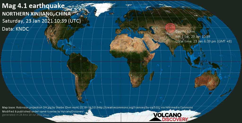 Moderate mag. 4.1 earthquake - 78 km northeast of Huocheng, Ili Kazak Zizhizhou, Xinjiang, China, on Saturday, 23 Jan 2021 6:39 pm (GMT +8)