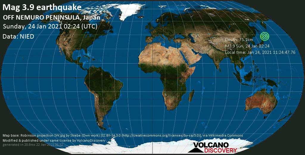 Weak mag. 3.9 earthquake - North Pacific Ocean, 45 km southeast of Nemuro, Hokkaido, Japan, on Sunday, 24 Jan 2021 12:24 pm (GMT +10)