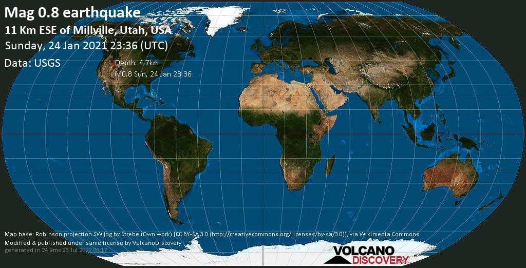 Minor mag. 0.8 earthquake - 11 Km ESE of Millville, Utah, USA, on Sunday, 24 January 2021 at 23:36 (GMT)