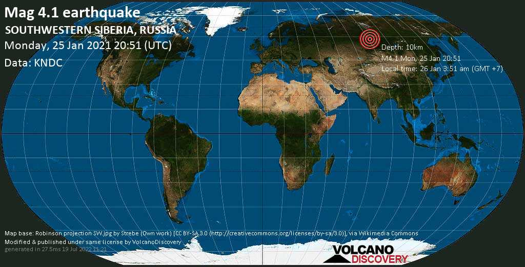 Moderate mag. 4.1 earthquake - 127 km west of Lesosibirsk, Krasnoyarskiy Kray, Russia, on Tuesday, 26 Jan 2021 3:51 am (GMT +7)