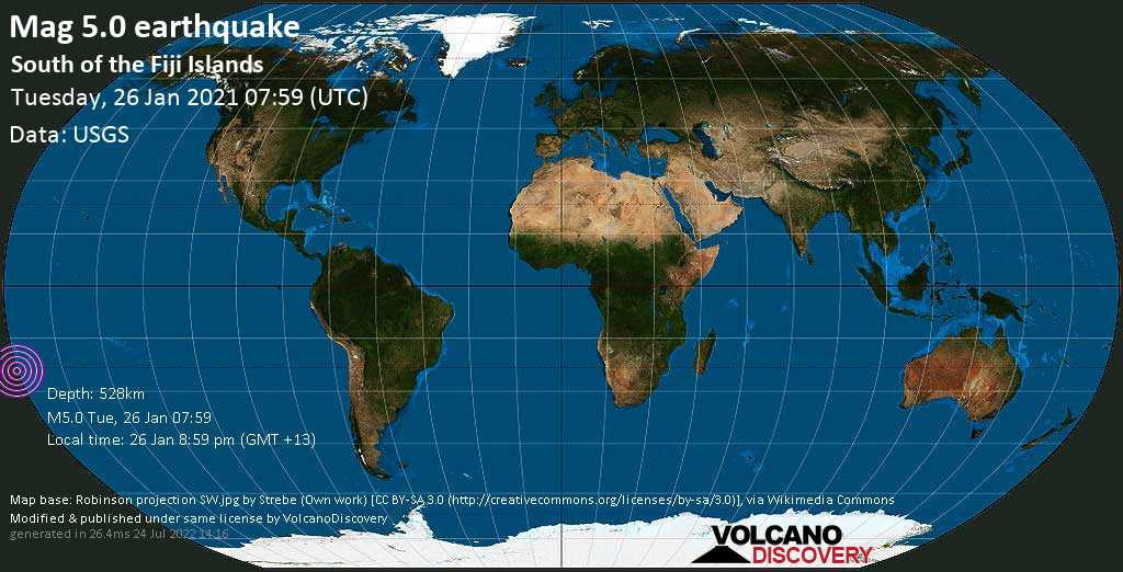 Moderate mag. 5.0 earthquake - South Pacific Ocean, Fiji, on Tuesday, 26 Jan 2021 8:59 pm (GMT +13)