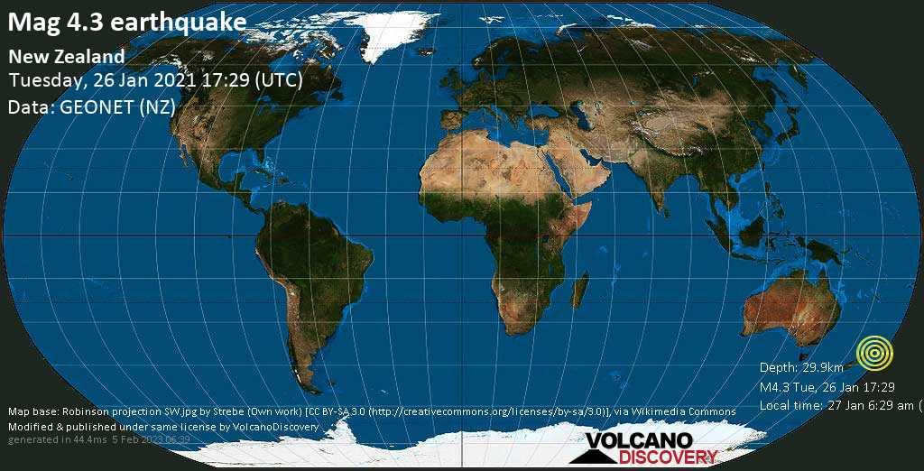 Light mag. 4.3 earthquake - Tasman Sea, 55 km west of Palmerston North, Manawatu-Wanganui, New Zealand, on Wednesday, 27 Jan 2021 6:29 am (GMT +13)