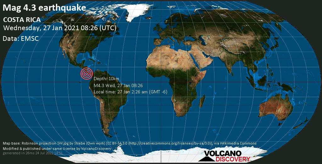 Moderate mag. 4.3 earthquake - North Pacific Ocean, 66 km southwest of Golfito, Costa Rica, on Wednesday, Jan 27, 2021 2:26 am (GMT -6)