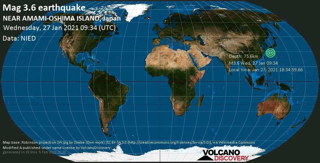 Weak mag. 3.6 earthquake - East China Sea, 40 km west of Naze, Amami Shi, Kagoshima, Japan, on Wednesday, 27 Jan 2021 6:34 pm (GMT +9)