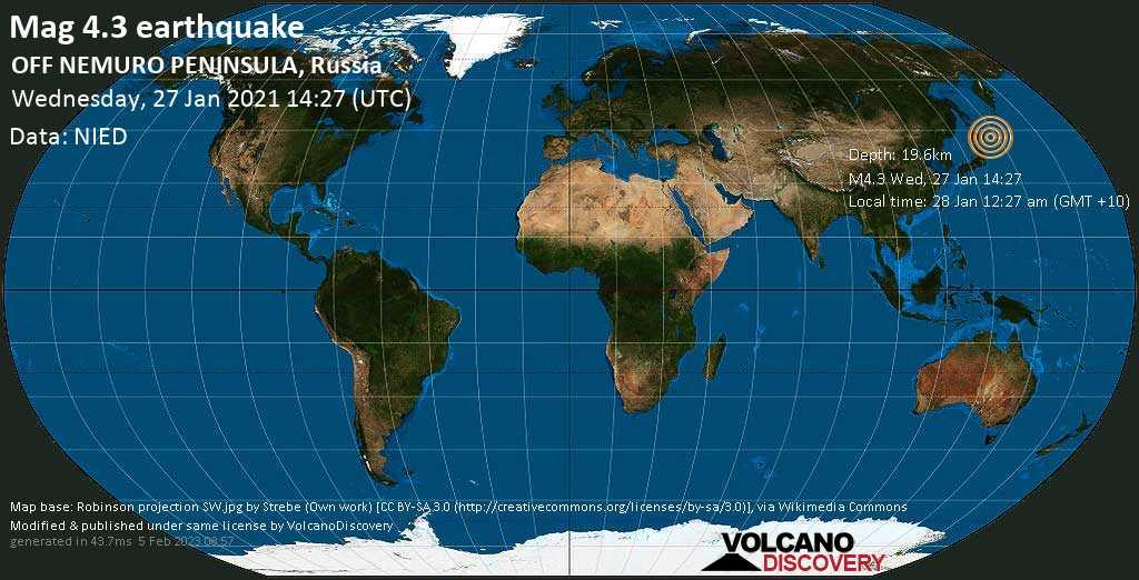 Moderate mag. 4.3 earthquake - North Pacific Ocean, 94 km southeast of Nemuro, Hokkaido, Japan, on Thursday, Jan 28, 2021 12:27 am (GMT +10)